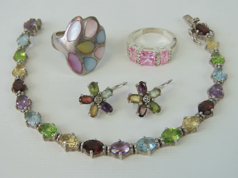 Lot 105 - A HM silver multi-gem set bracelet, 18.5cm in length, with matched 925 silver earrings.