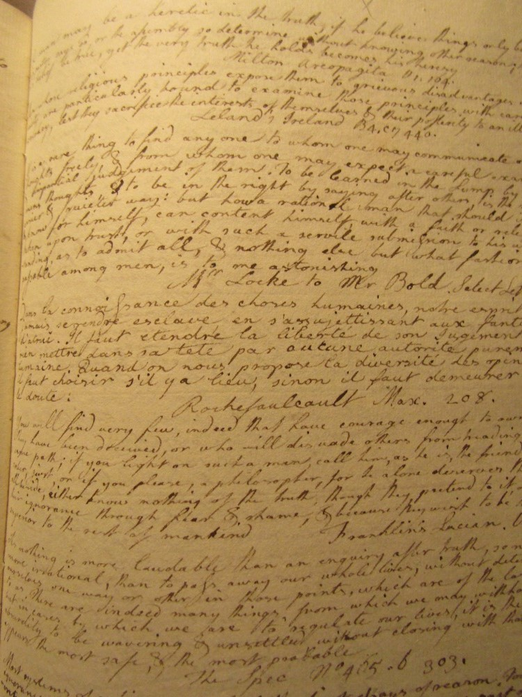 Lot 886 - Mid 18th century hand written book, vellum bound, 550 pages, numerous subjects commented and written
