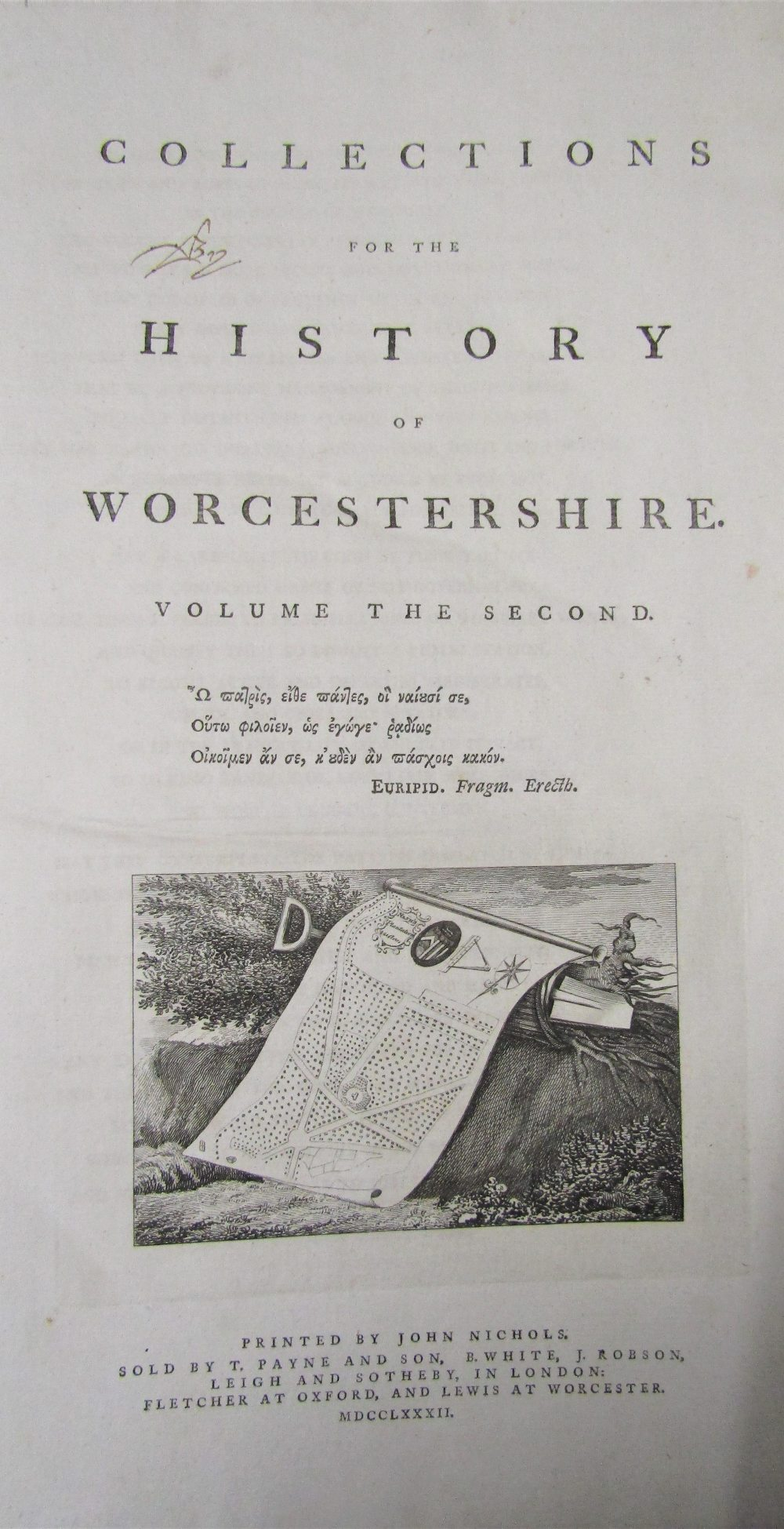 Lot 805 - NASH Tredway - Collection of the History of Worcestershire, two volumes, printed by John Nichols,
