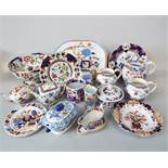 A collection of 19th century Mason's Ironstone china including a sauce tureen and cover, a hot water