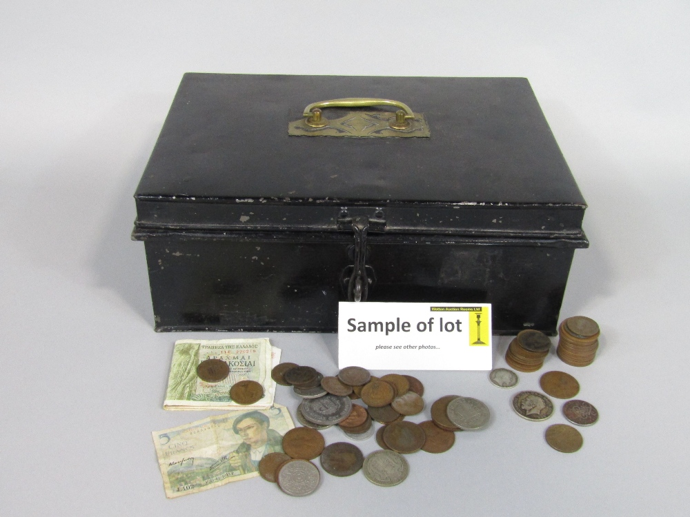 Lot 396 - A tin strong box containing a collection of various 19th century and later coinage to include silver