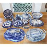 An early 19th century Masons Ironstone blue and white printed tureen and cover of hexagonal form