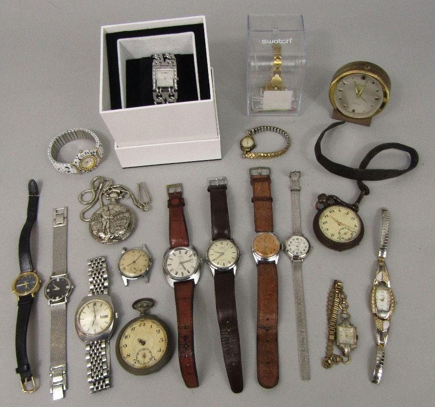 Lot 364 - A box containing a collection of various vintage watches and time pieces to include Tissot Seastar