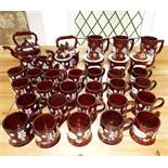 A quantity of reproduction bargeware items in the 19th century style including a kettle and stand