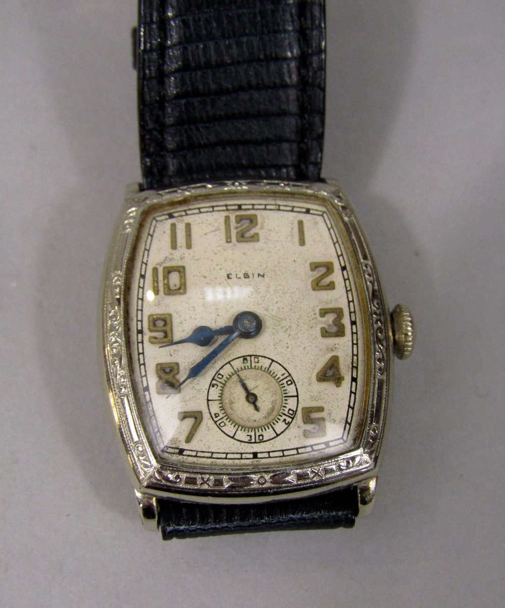 Lot 360 - 1920s/30s gent's Elgin silver dress watch, the shaped dial with Arabic numerals and subsidiary