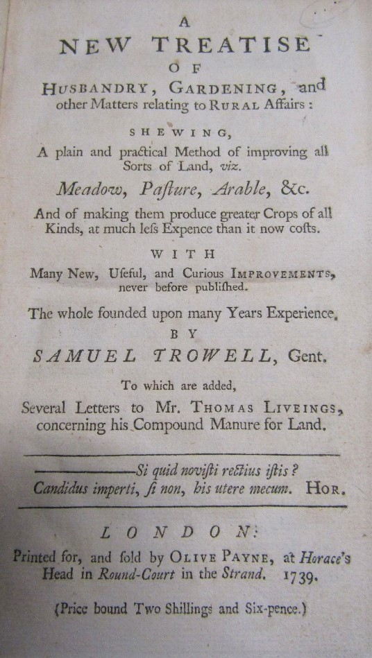 TROWELL Samuel - A New Treatise of Husbandry, Gardening and other Matters relating to Rural - Image 2 of 2