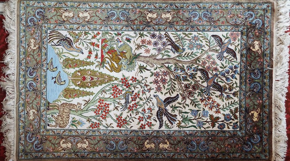 Lot 620 - Good quality Persian silk Tree of Life prayer mat size rug decorated with birds and beasts amidst