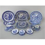 A collection of late 19th century blue and white printed child's miniature dinnerwares with