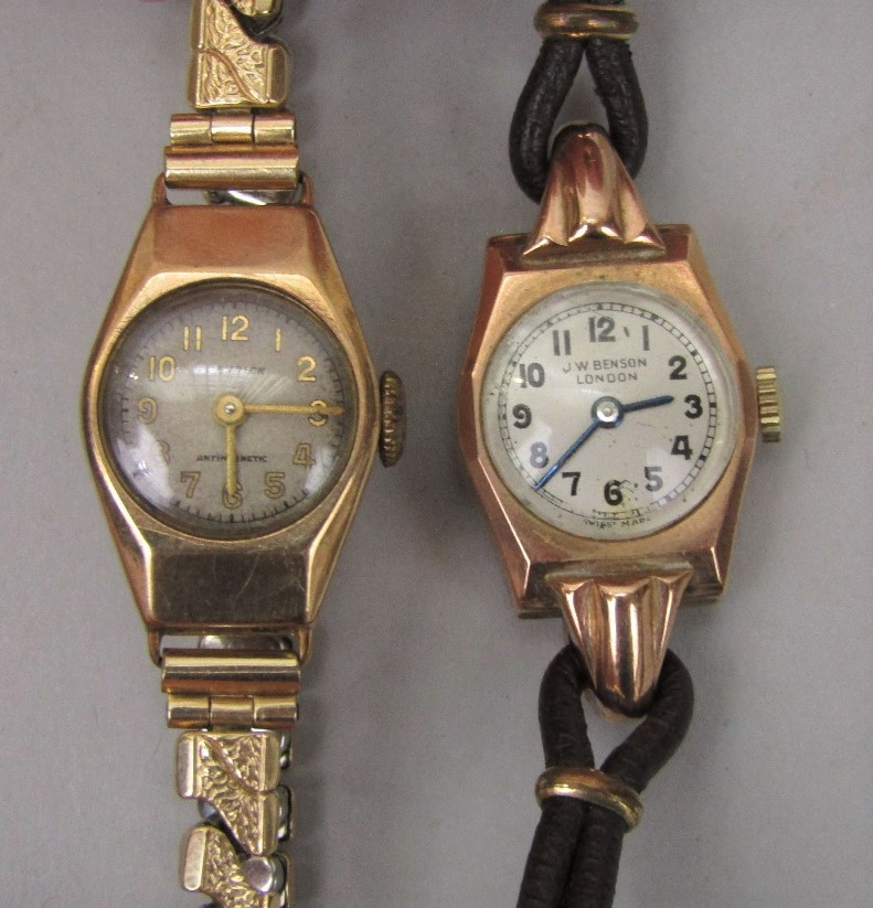 Lot 366 - 1920s/30s J W Benson 9ct ladies cocktail watch, with period leather strap together with a further