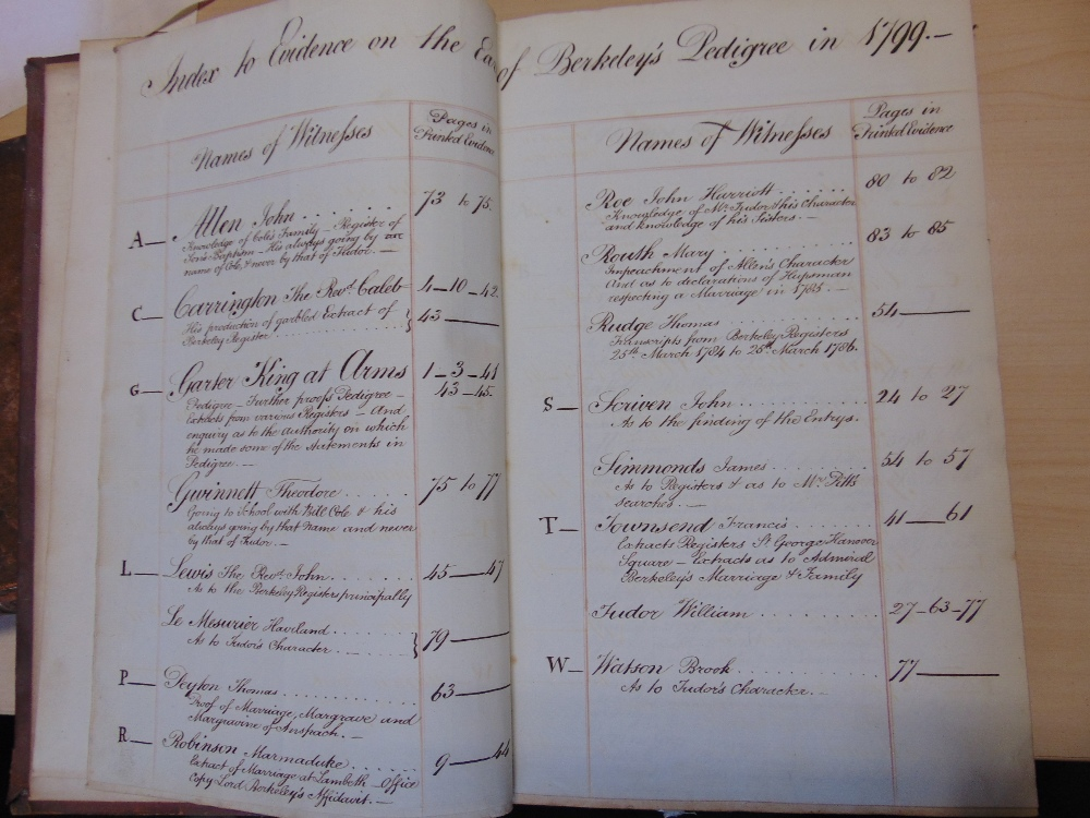 Lot 830 - Minutes of Evidence - on the Earl of Berkeley's Pedigree, Part !, 1799 pages 1-420 including hand