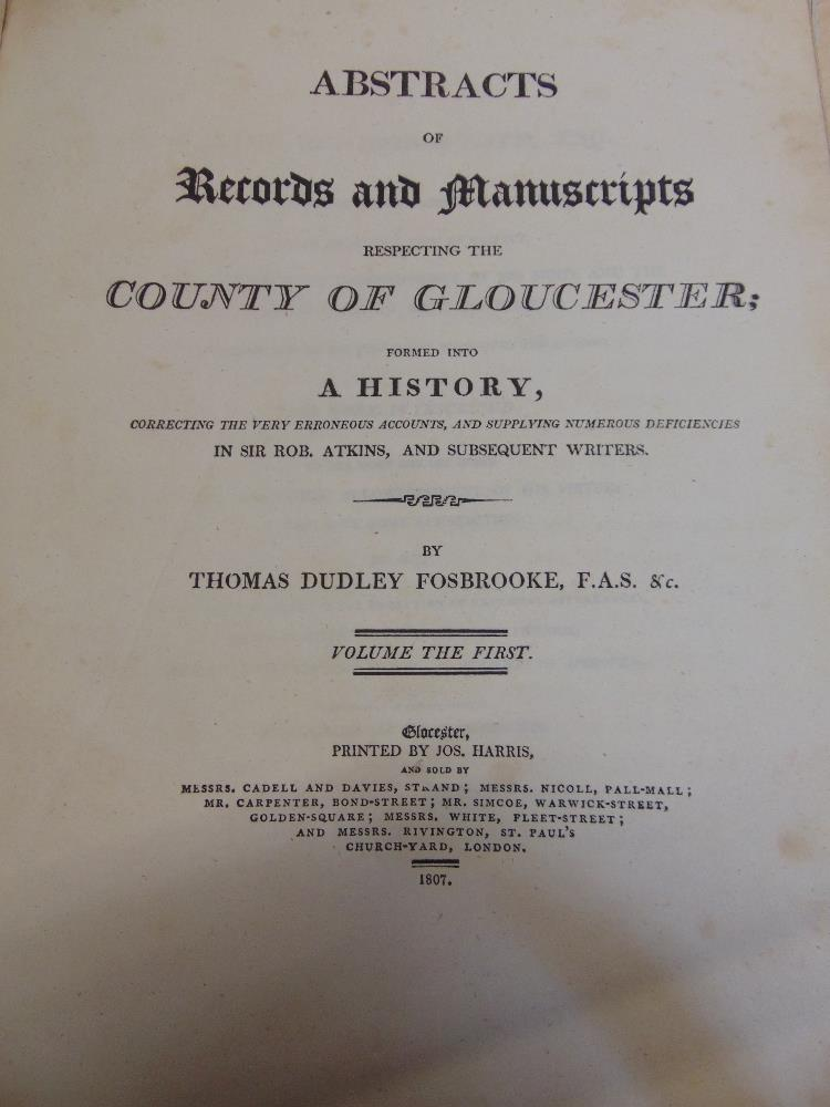 Lot 837 - FOSBROOKE Thomas Dudley - Abstracts of Records and manuscripts respecting the County of Gloucester -
