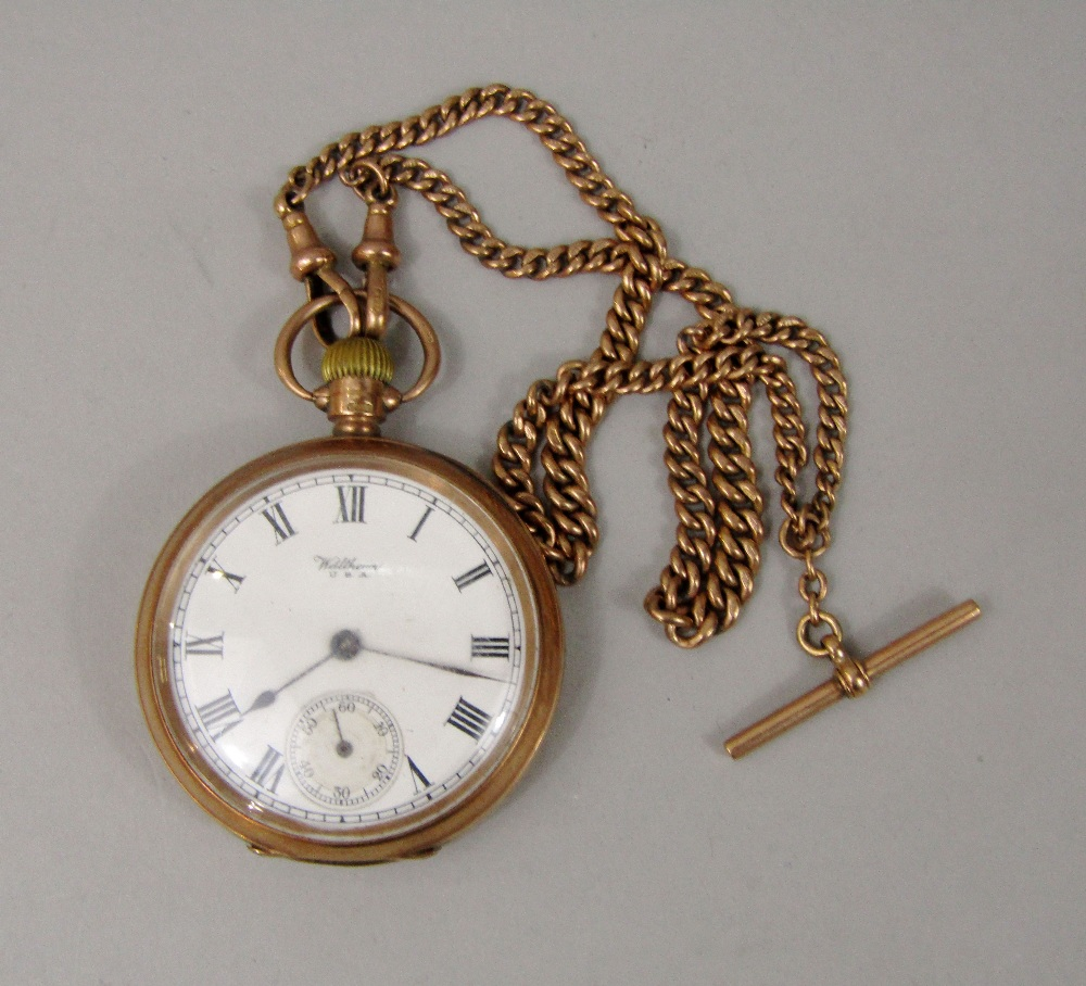 Lot 355 - 9ct Waltham pocket watch, the enamel dial with Roman numerals and subsidiary second dial, with
