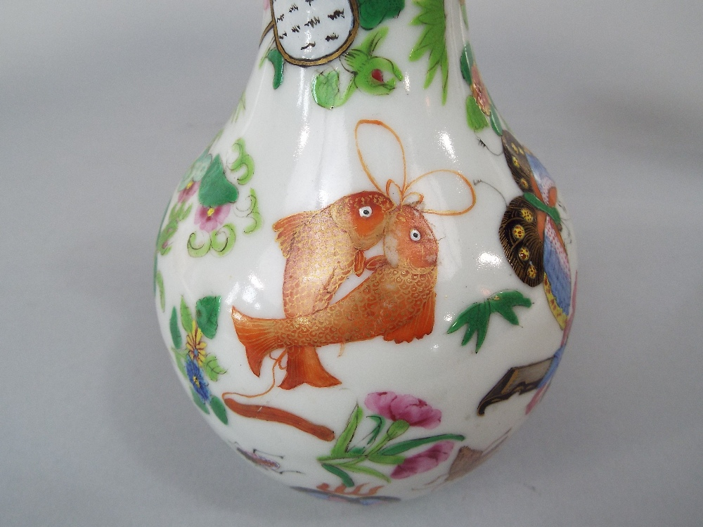Lot 52 - A 19th century Cantonese bottle shaped vase with polychrome painted insect, fish and trophy