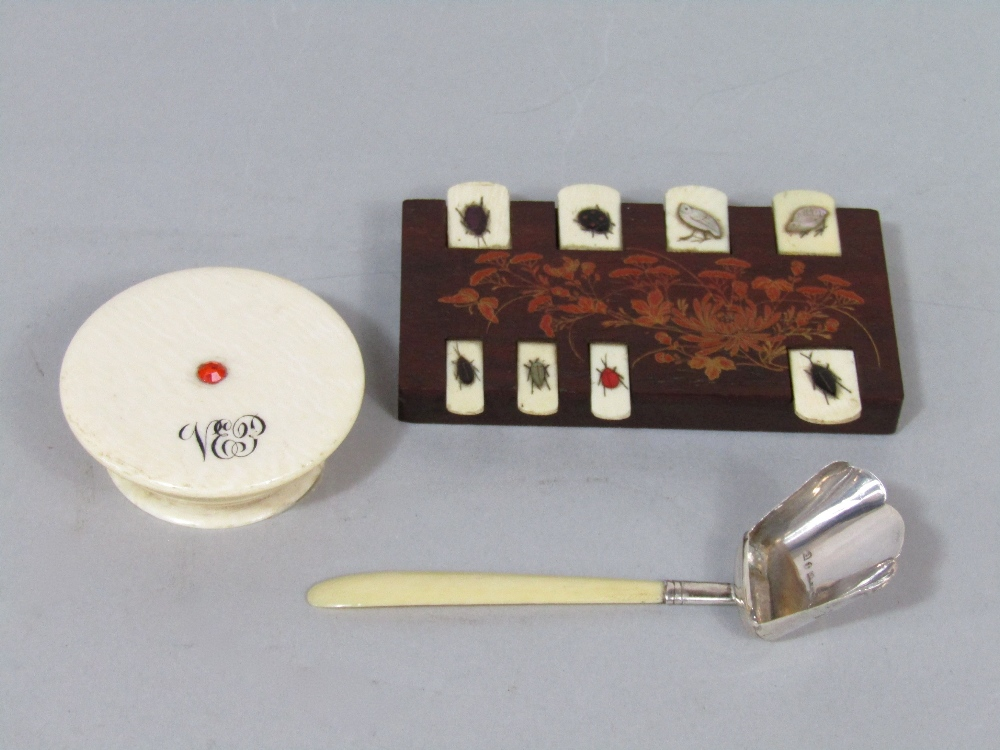 Small 19th century ivory pot and cover, Japanese hardwood and shibayama counter, and a small