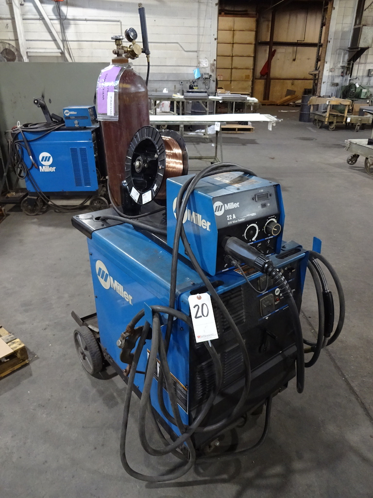 Lot 20 - Miller CP-302 CV-DC Welding Power Source, S/N LJ330114C, Miller 22A 24 Volt Wire Feeder