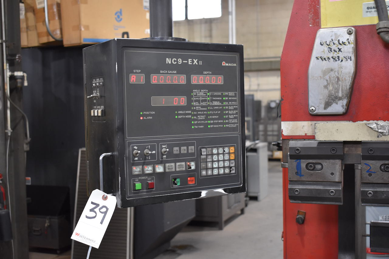 Lot 39 - Amada 94 in. x 80 Ton Model RG-80 CNC Hydraulic Press Brake, S/N A10554 (1994), Amada NC9-EX II
