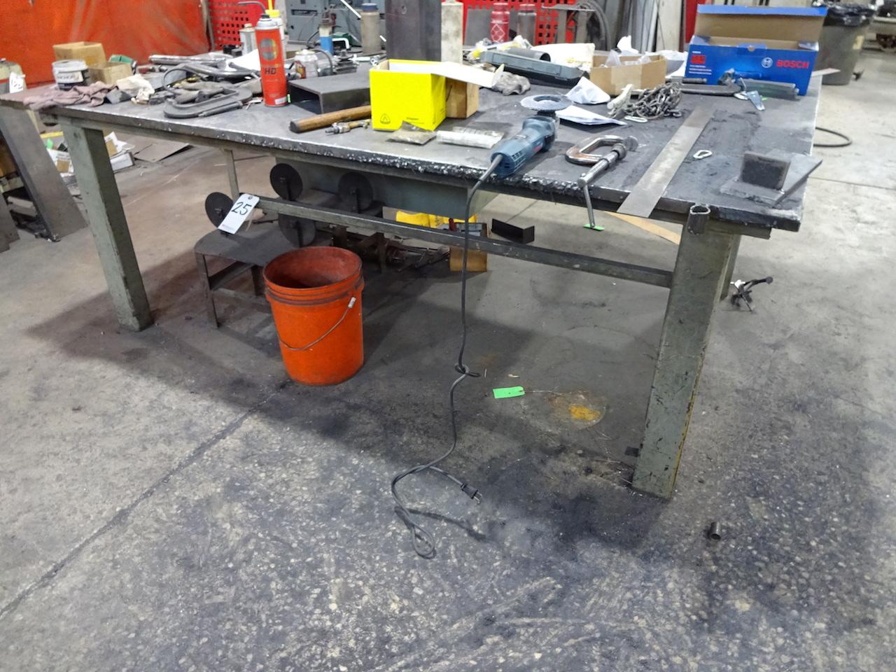 Lot 25 - 88 in. x 60 in. Heavy Duty Steel Welding Table