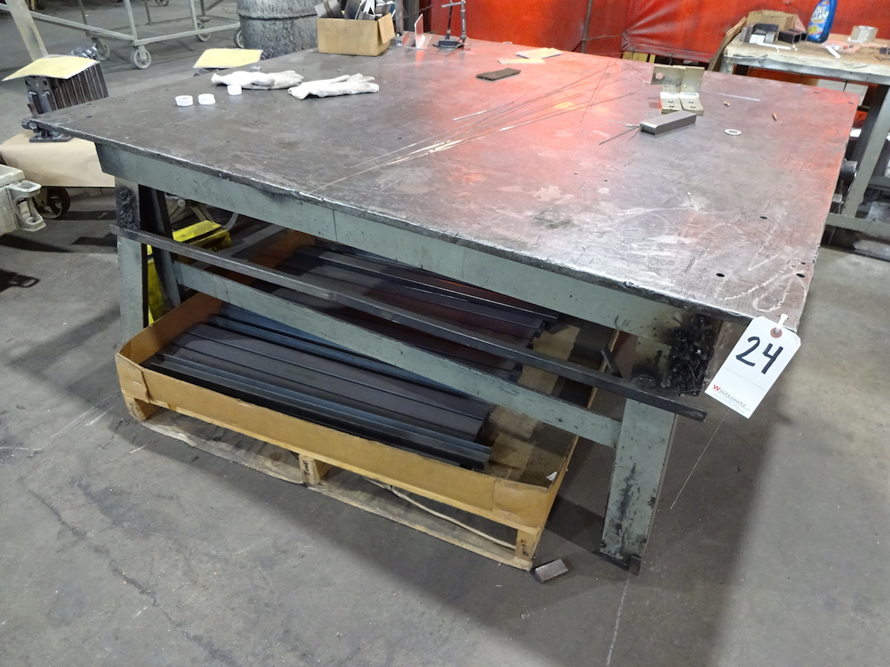 Lot 24 - 68 in. x 62 in. Heavy Duty Steel Welding Table