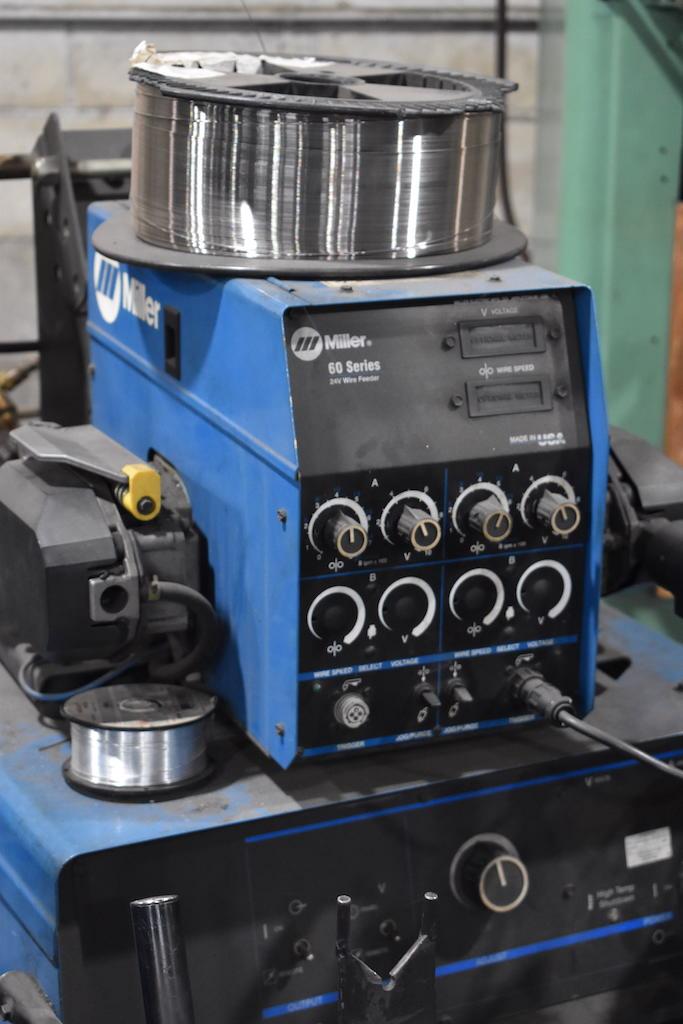 Lot 22 - Miller Deltaweld 452 CV-DC Welding Power Source, S/N KH424709, Miller 60 Series 24 Volt Wire Feeder