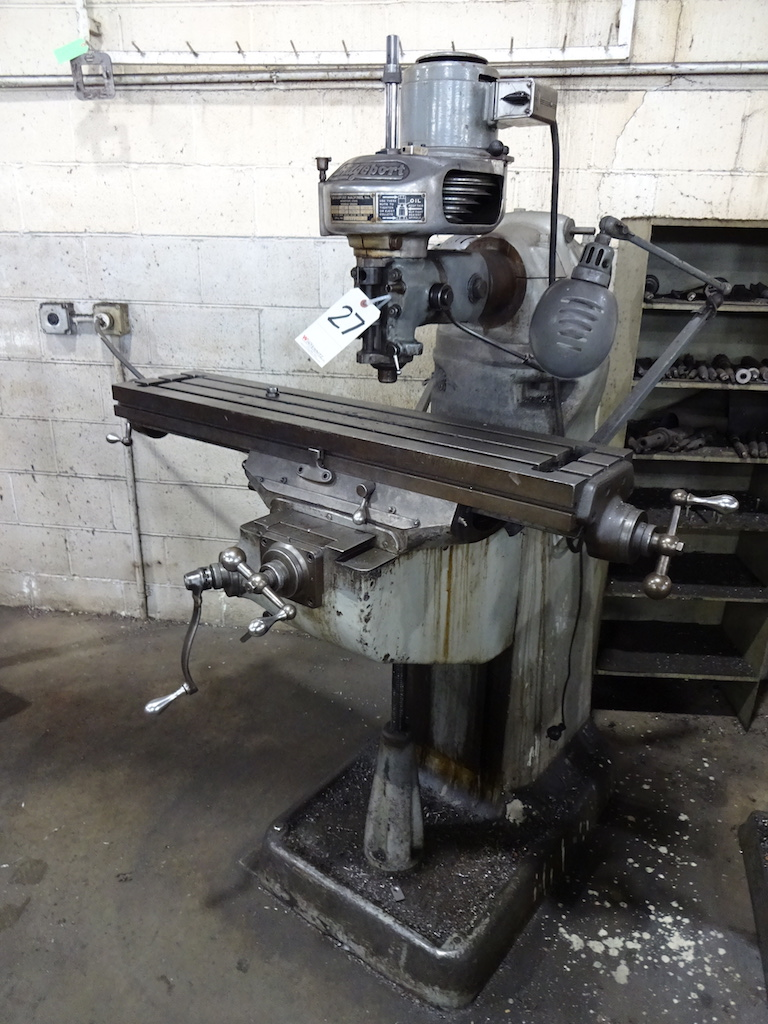 Lot 27 - Bridgeport 1/2 HP Round Overarm Vertical Milling Machine, S/N BR31111, 9 in. x 42 in. Table, 275 -