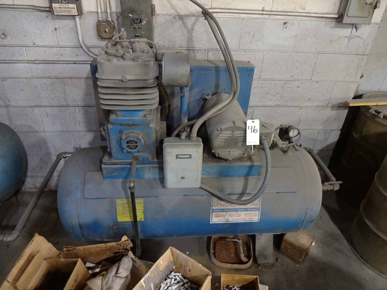 Lot 46 - Curtis Toledo 15 HP Tank Mounted Air Compressor (needs repair)