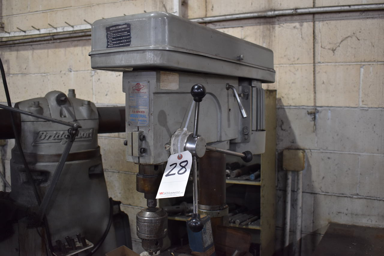 Lot 28 - Orbit Model OR-2501F 12-Speed Industrial Drill Press, 3/4 in. Chuck, MT #3 Spindle, 1 HP, 110/220