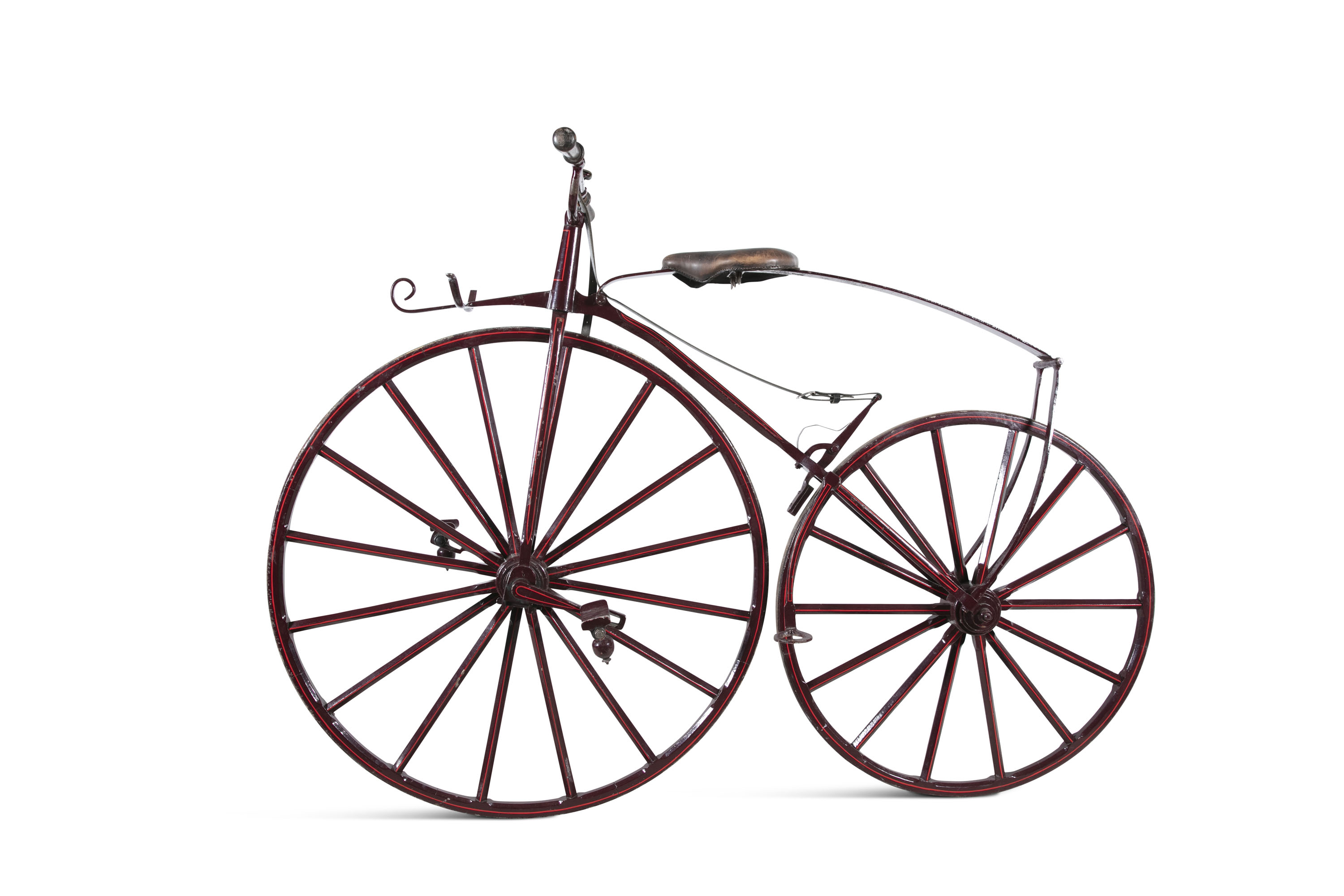 Lot 227 - ***PLEASE NOTE THE BICYCLE TYRES ARE WOOD AND METAL***A 19TH CENTURY 'BONE SHAKER' BICYCLE, of metal