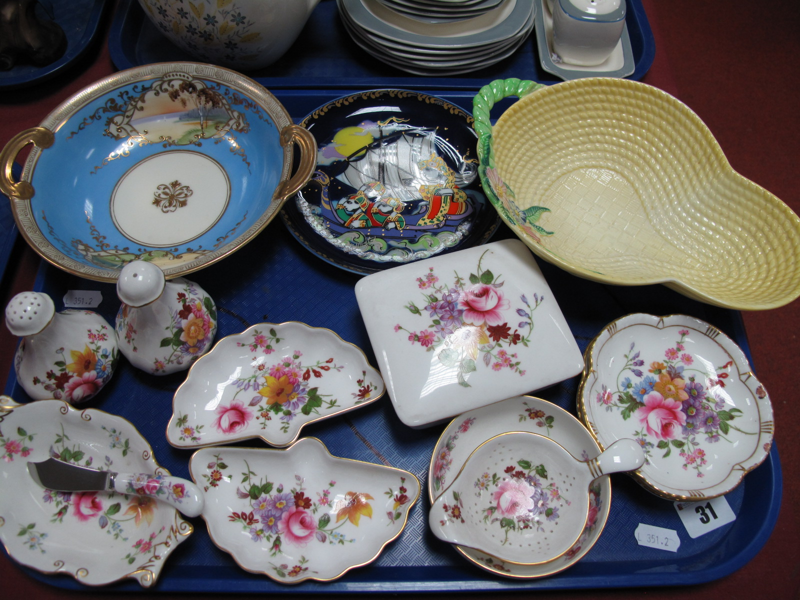 Lot 31 - Carlton Ware Pottery Basket, Rosenthal Bjorn Wiinblad 'Sinbad the Sailor' plate, Royal Crown Derby