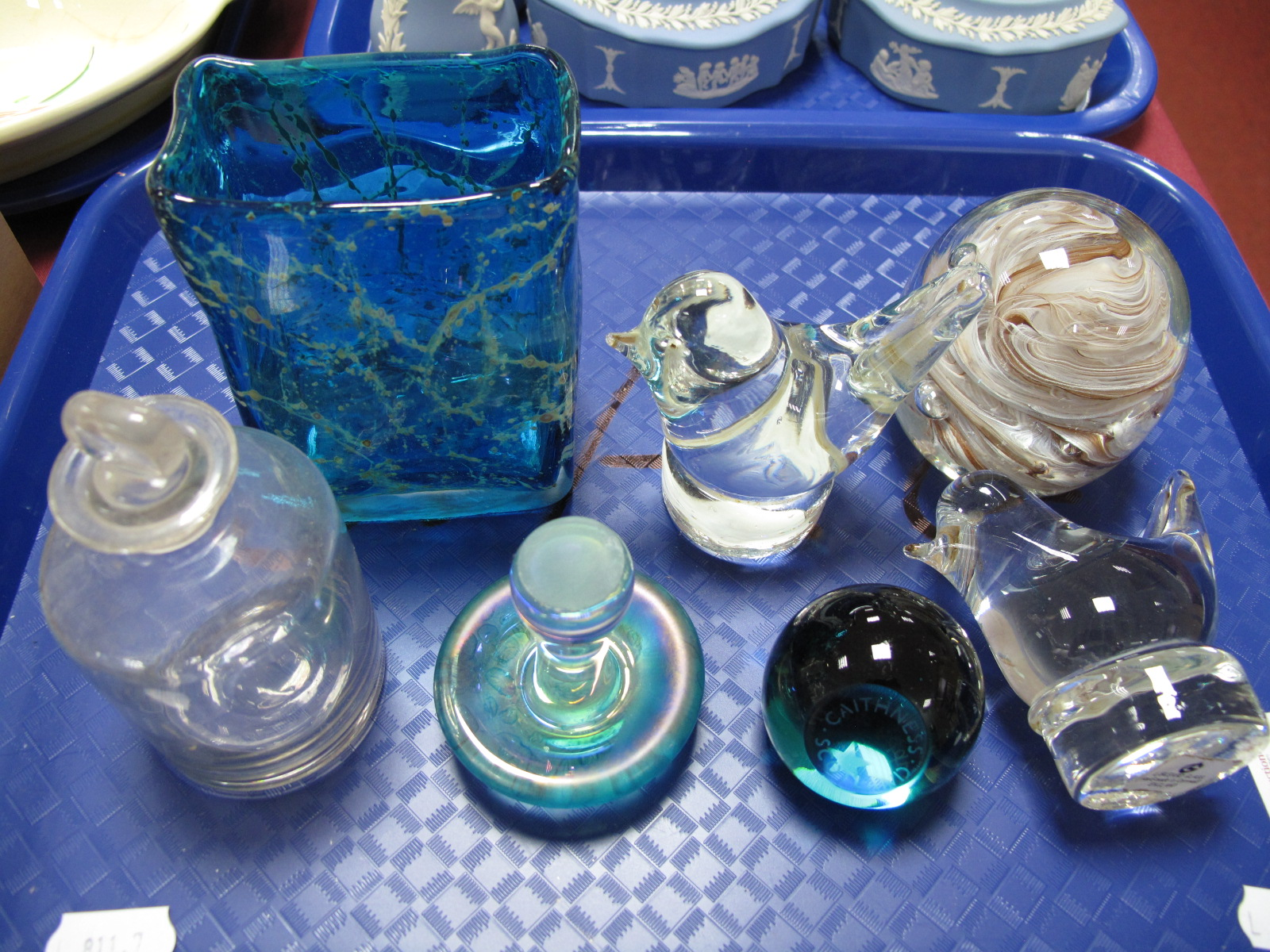 Lot 43 - Mdina Glass Vase, Liskeard glass birds, paperweights etc:- One Tray