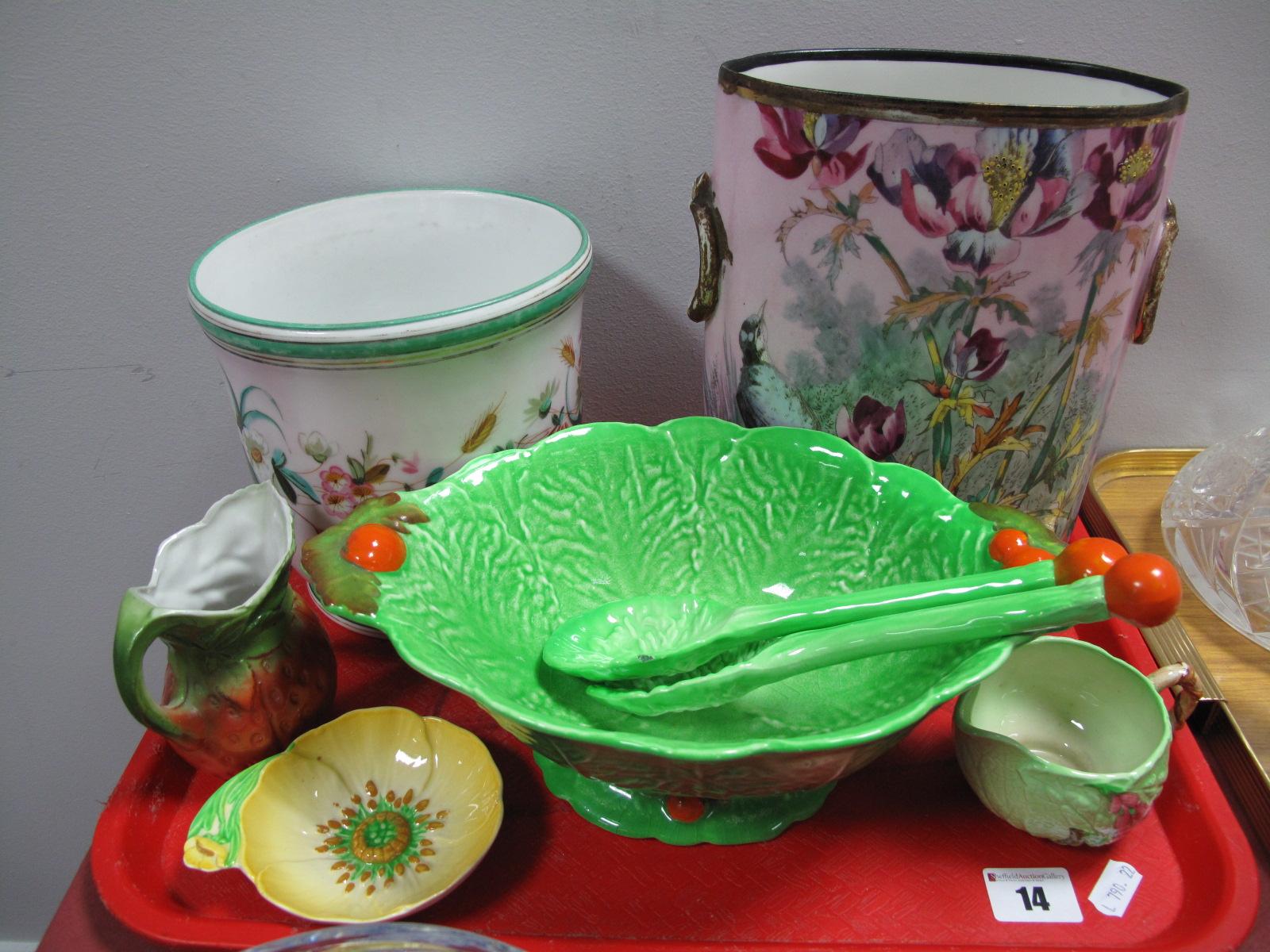Lot 14 - A XIX Century Oval E.P & C Vase, jardiniere, Carlton Ware salad bowl, etc:- One Tray