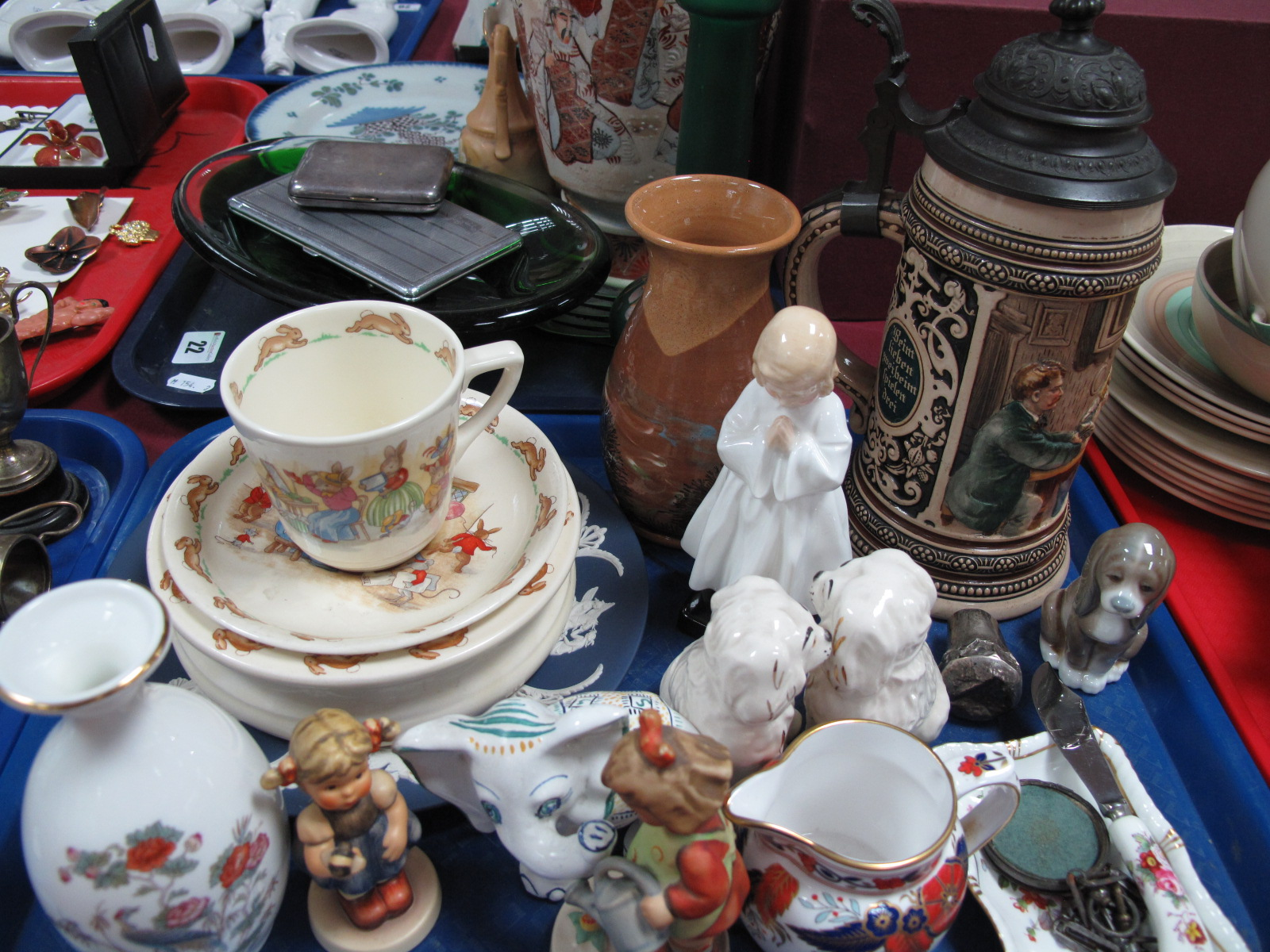"Lot 24 - Royal Doulton ""Bunnykins"" bowl, cup-saucer, Royal Daulton figure ""Bedtime"" Rd no 842481, Beswick"