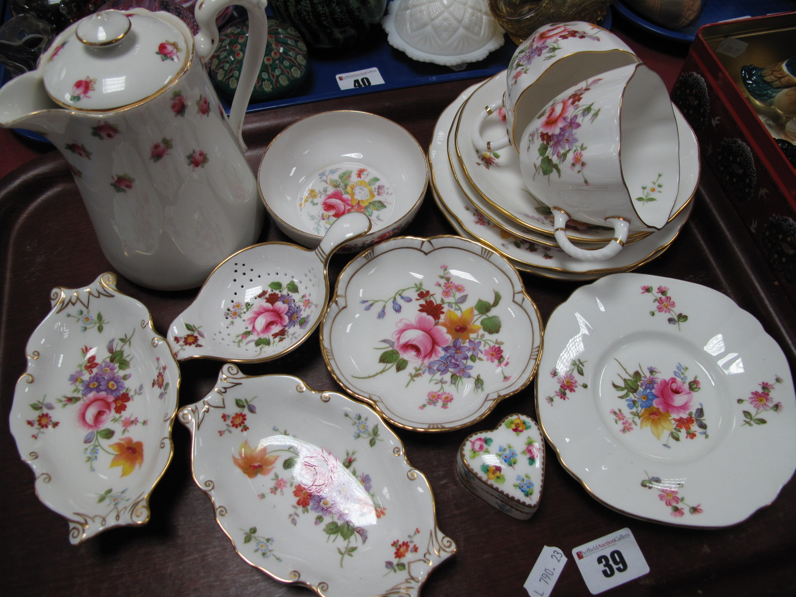 Lot 39 - A Grosvenor Hot Water Jug, Minton heart shaped trinket box, Crown ' Derby Posies', china:- One Tray