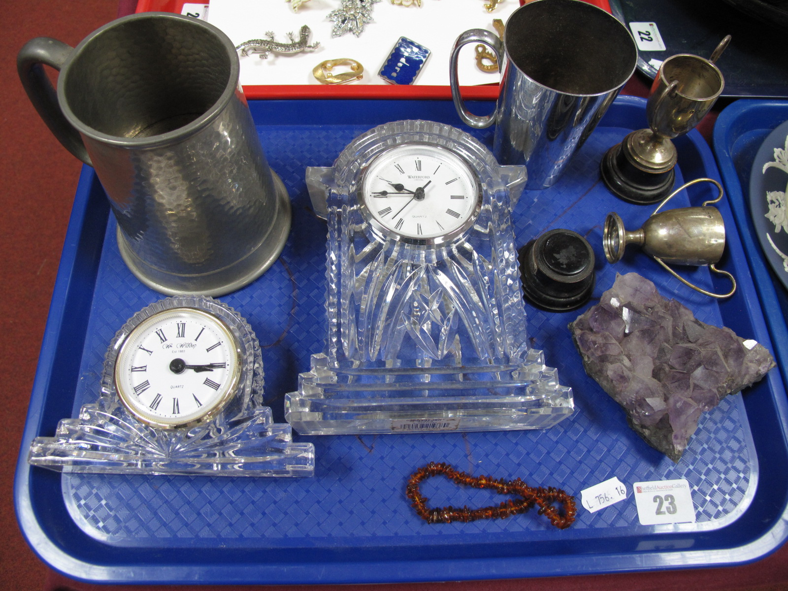 Lot 23 - Two Silver Trophy Cups, 7.5cm high, mineral specimen, Waterford and Widdop clocks, Dixon's musical