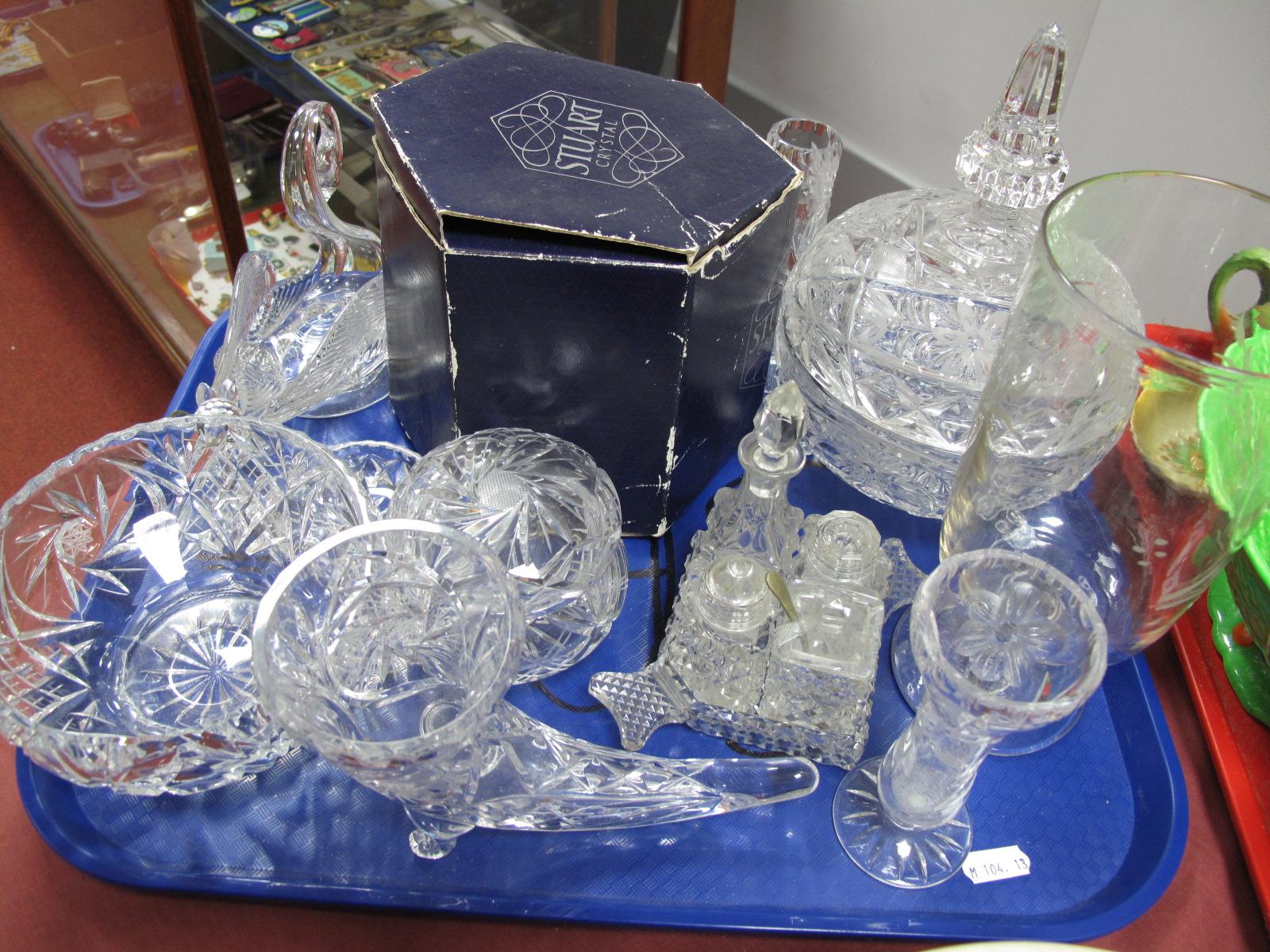 Lot 13 - An Etched Glass Celery Vase, Stuart Rose bowl, condiment set, cornucopia vase etc:- One Tray