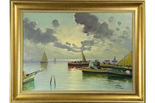 A Palini Italian 20th Century Going Out To Sea At Dawn Oil On