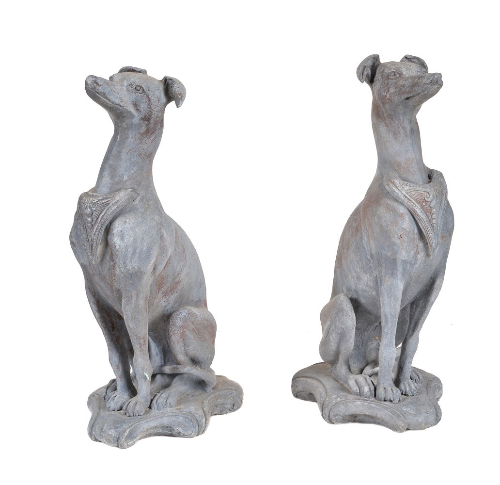 Lot 464 - A pair of cast lead models of whippets