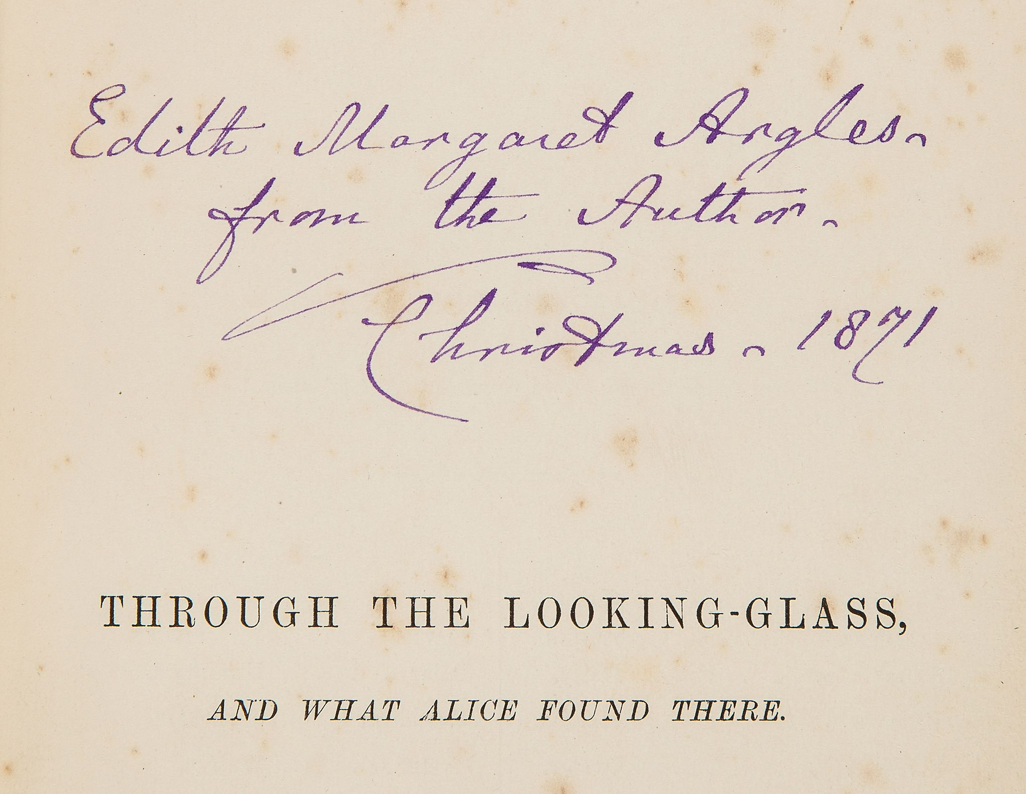 """Lot 109 - [Dodgson (Charles Lutwidge)], """"Lewis Carroll"""". - Through the Looking Glass, and What Alice Found"""