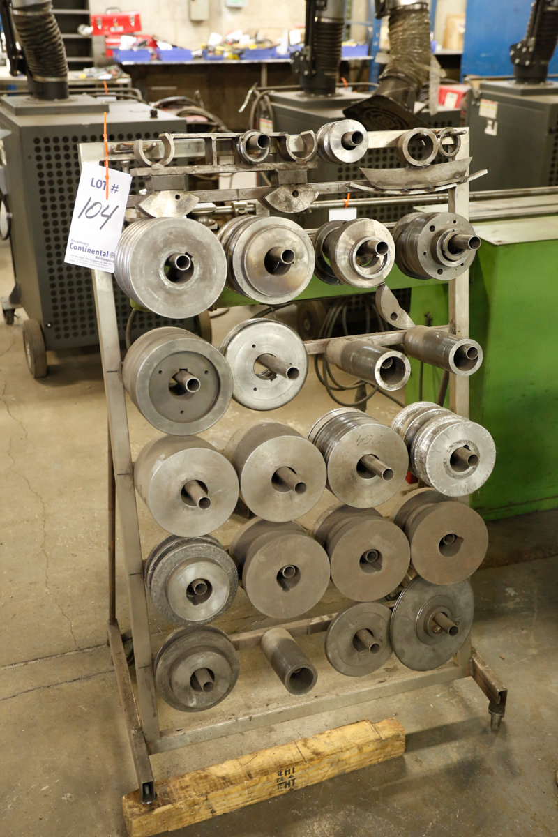 Lot 104 - LOT OF BENDING ROLL DIES W/ RACK