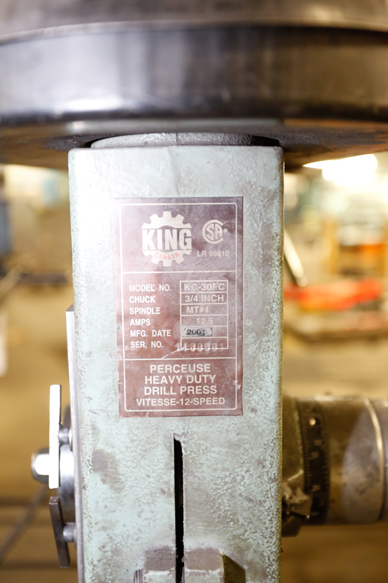 "Lot 80 - KING KC30 FC 3/4"" DRILL PRESS MT4 SPINDLE"