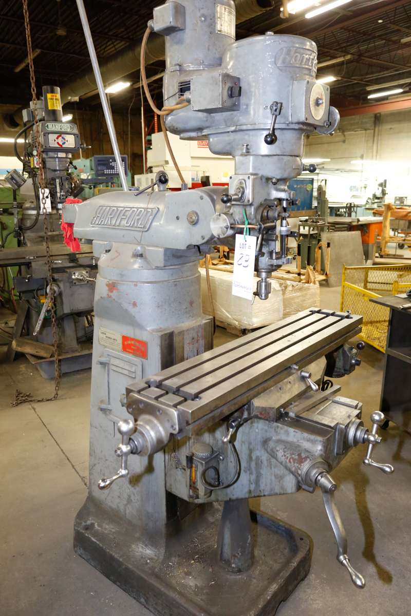 Lot 83 - BRIDGEPORT MILLING MACHINE 9'' X 42'' TABLE , 2 HP MOTOR