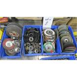 LOT OF ASSORTED GRINDING WHEELS & ASSORTED PARTS