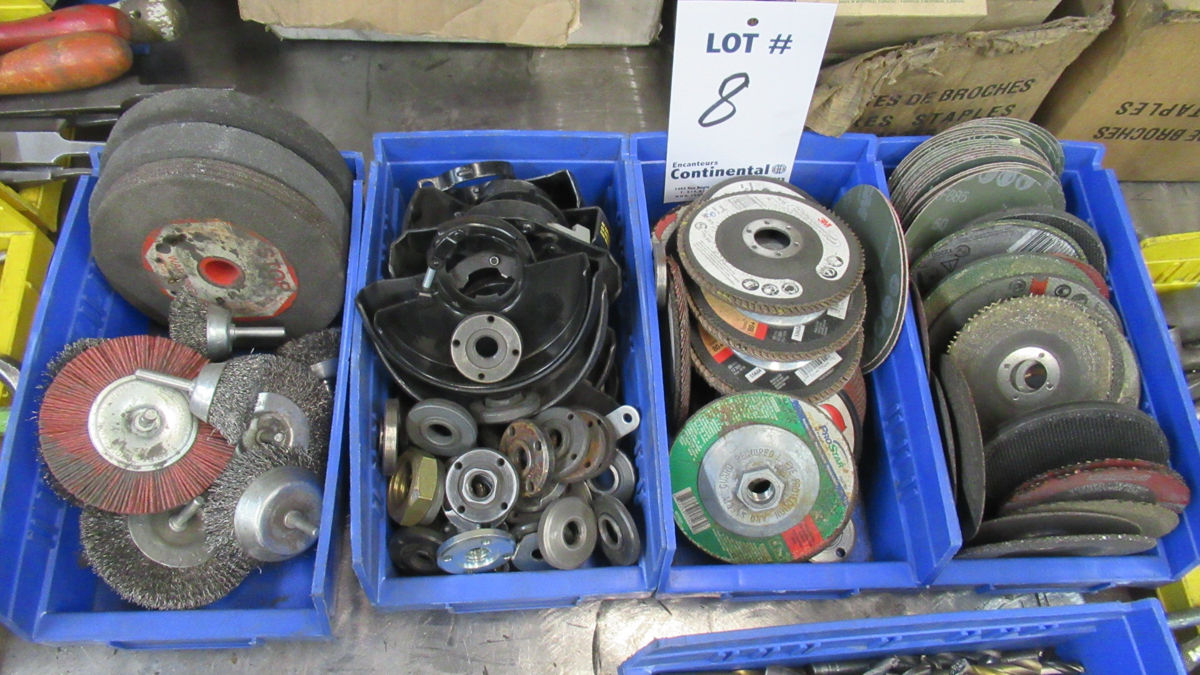 Lot 8 - LOT OF ASSORTED GRINDING WHEELS & ASSORTED PARTS