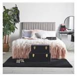 (QP31) Grey Velvet Double Headboard In a modern grey velvet with ruched detailing, it adds a t...(