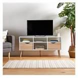 (QP29) White & Oak Large TV Unit Split front features a 3 narrow shelves, 2 large drawers and ...(
