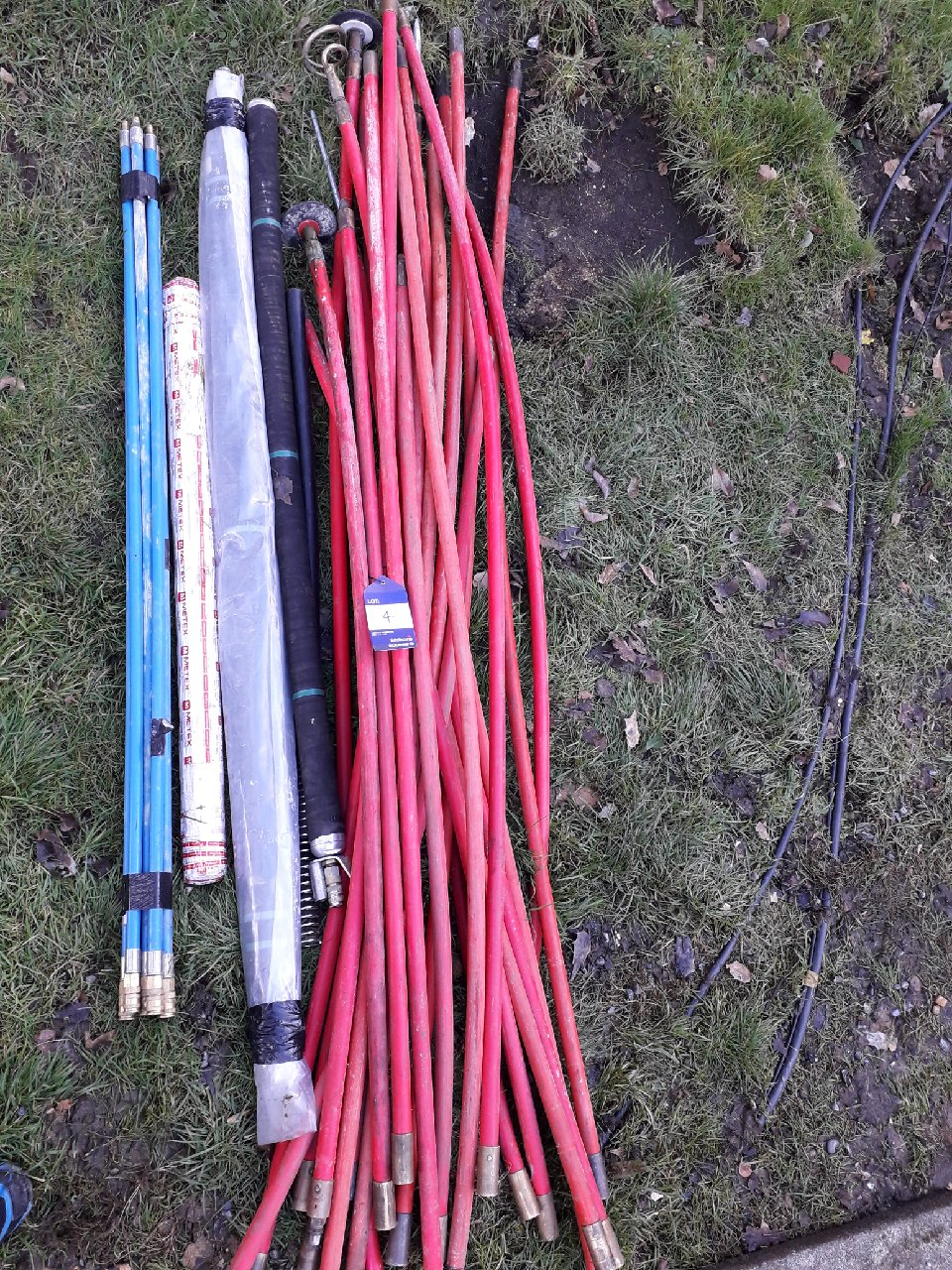 Lot 4 - Quantity of various draining rods. (Please note: Viewing is by appointment only. Please Tel: 0161