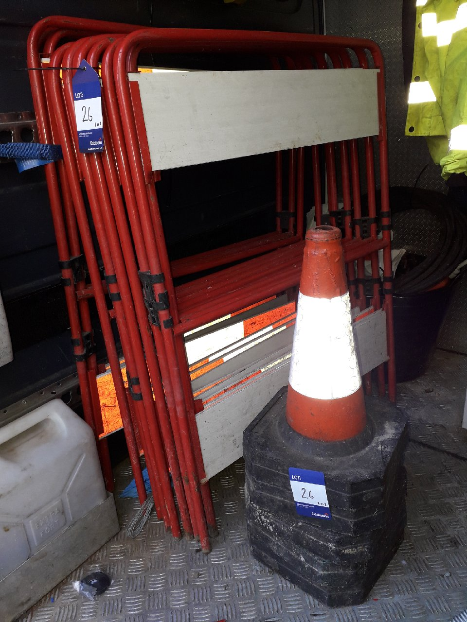 Lot 26 - 3 x work barriers and 5 x road cones. (Please note: Viewing is by appointment only. Please Tel: 0161