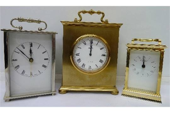 Brass quartz mantel clock
