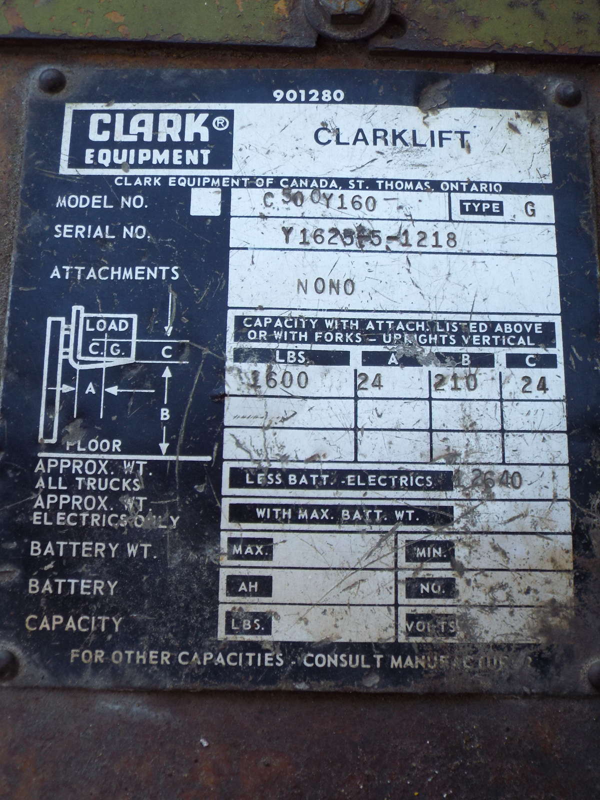 """CLARK C500Y160 LPG OUTDOOR FORKLIFT WITH 16,000 LB. CAPACITY, 210"""" VERTICAL LIFT, PNEUMATIC TIRES - Image 8 of 8"""