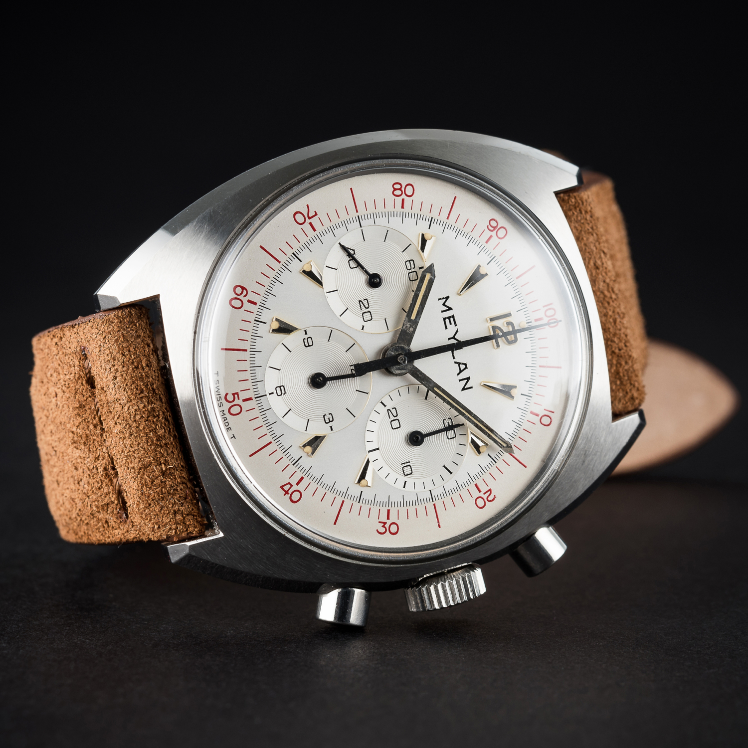 "Lot 64 - A RARE GENTLEMAN'S ""NOS"" STAINLESS STEEL MEYLAN DECIMAL CHRONOGRAPH WRIST WATCH CIRCA 1960s D: Two"