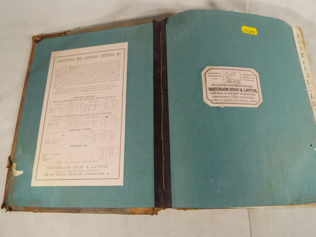Lot 390 - A 19th century manuscript copy book / wet letter book containing 1000 pages with copies of